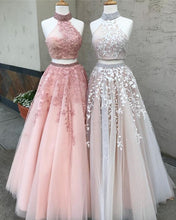 Open Back Two Piece Ball Gown Prom Dresses Lace Appliques Tulle