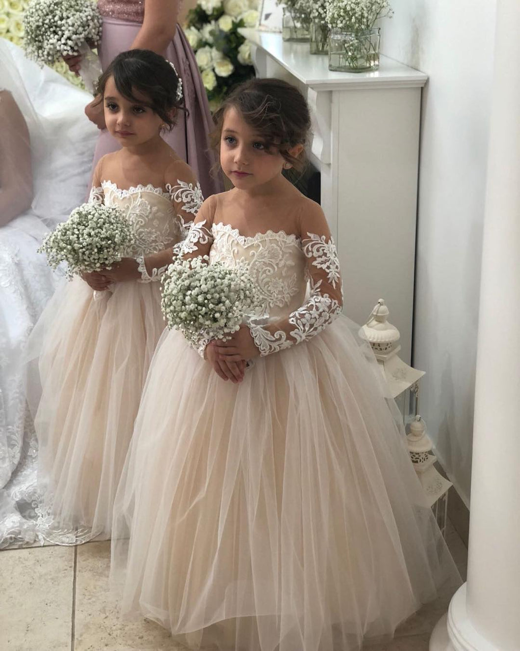 Beautiful Tulle Ball Gown Flower Girl Dresses for Weddings 2018