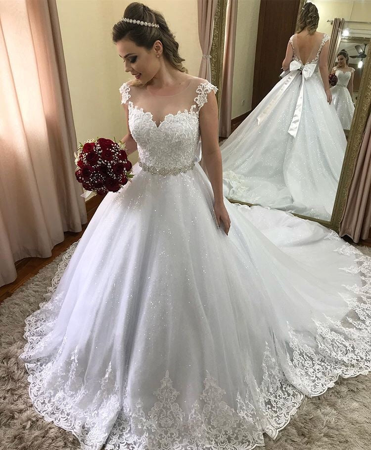 Sparkly Tulle Cap Sleeves Bridal Ball Gown Wedding Dresses