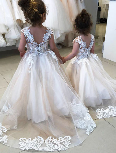 Lovely Cap Sleeves Ball Gowns Flower Girls Dresses