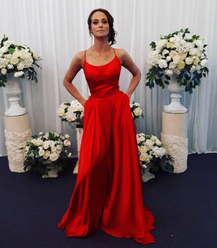 Opening Back Red A line Prom Dresses with Front Slit