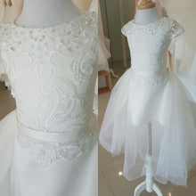 Illusion Skirt Cap Sleeves Flower Girl Dresses for Weddings