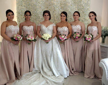 Elegant Appliques Strapless Long Bridesmaid Dresses with Slit