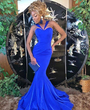 Royal Blue Mermaid Long Evening Dresses with Straps