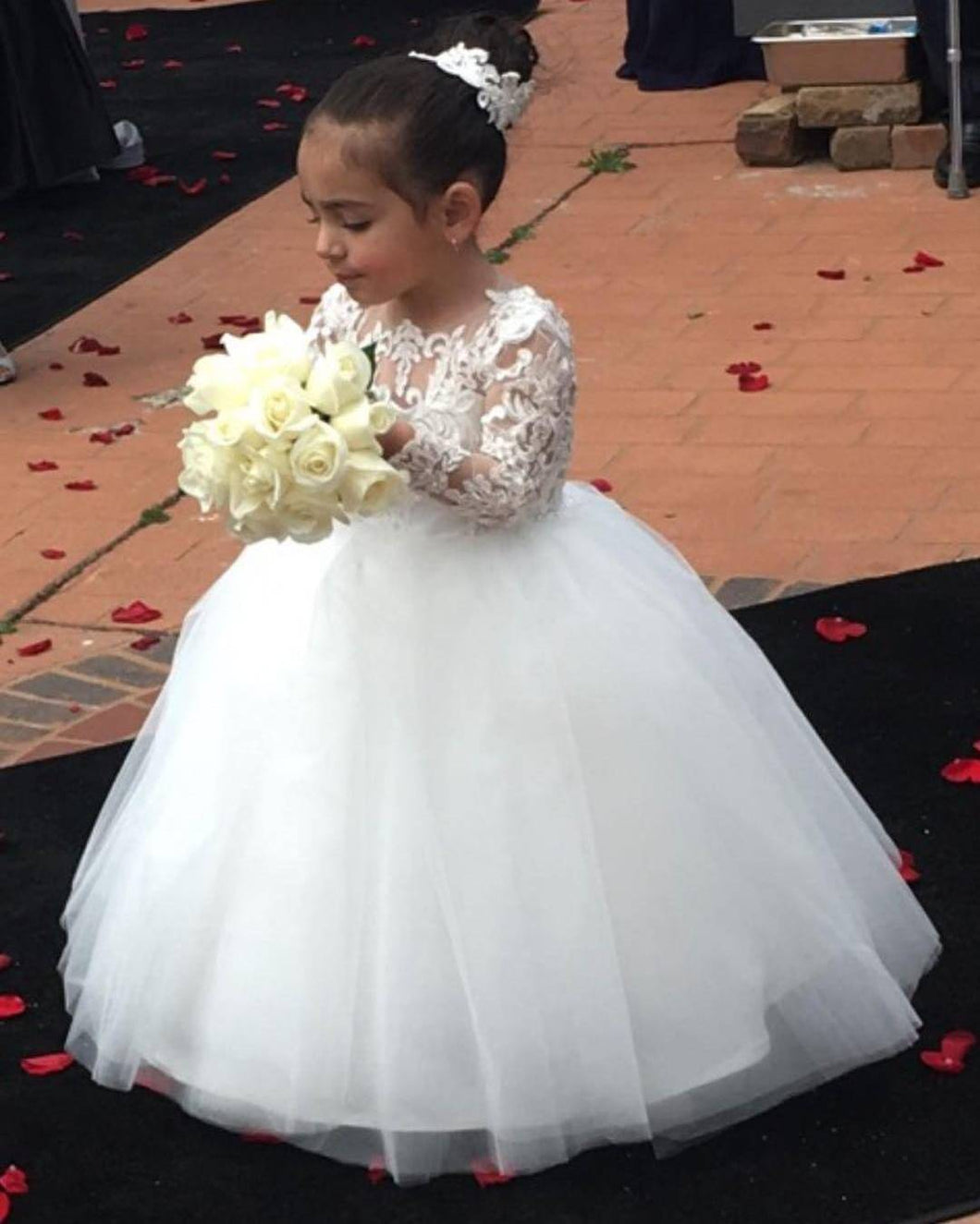 White Ball Gown Flower Girl Dresses with Long Lace Sleeves