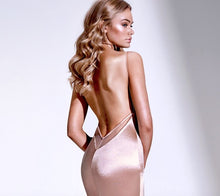 Open Back Long Satin Sexy Mermaid Evening Dresses