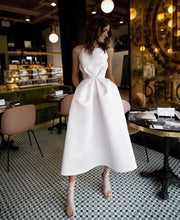Casual Ruched Waist Little Wedding Dress with Pockacts
