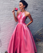 Pink Satin Illusion Neck Long Prom Gowns Dresses with Pockets