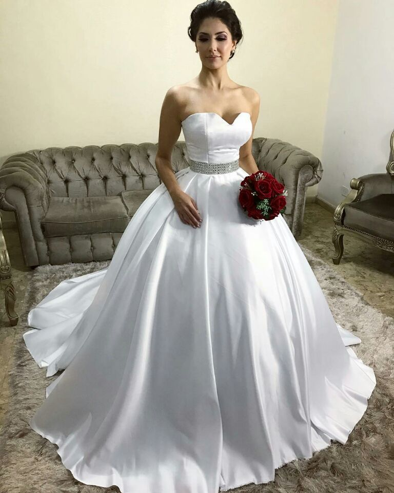 Simple Satin Sweetheart Ball Gown Wedding Dresses with Belt