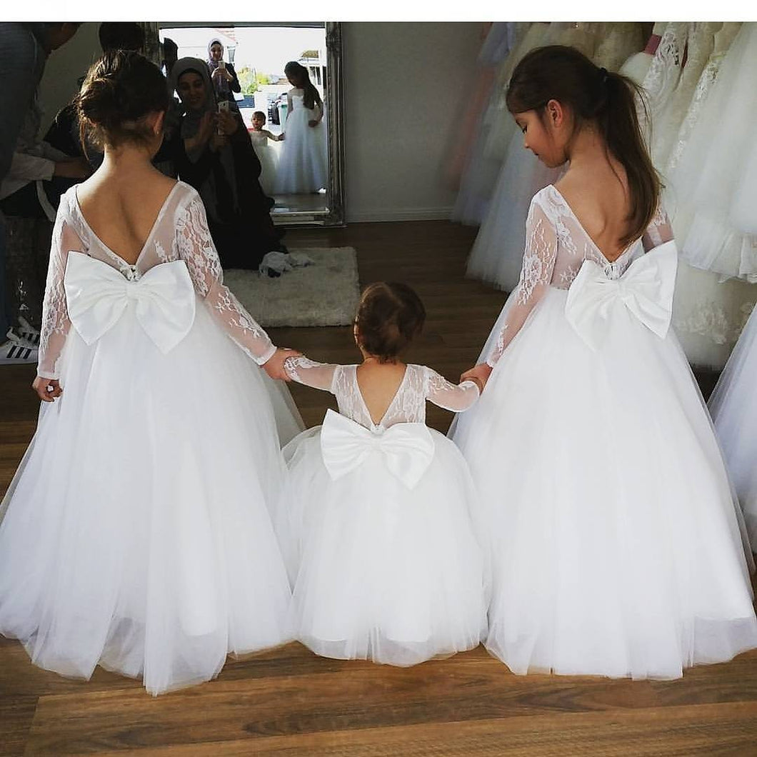 Cute Backless Ball Gown Flower Girl Dresses with Long Sleeves
