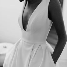 Concise Satin Backless Wedding Dresses with Slit and Pockets