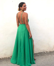 Sexy Backless Deep V Neck Evening Dresses Long with High Split