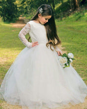 Princess Long Sleeves Backless Flower Girl Dress with Bow