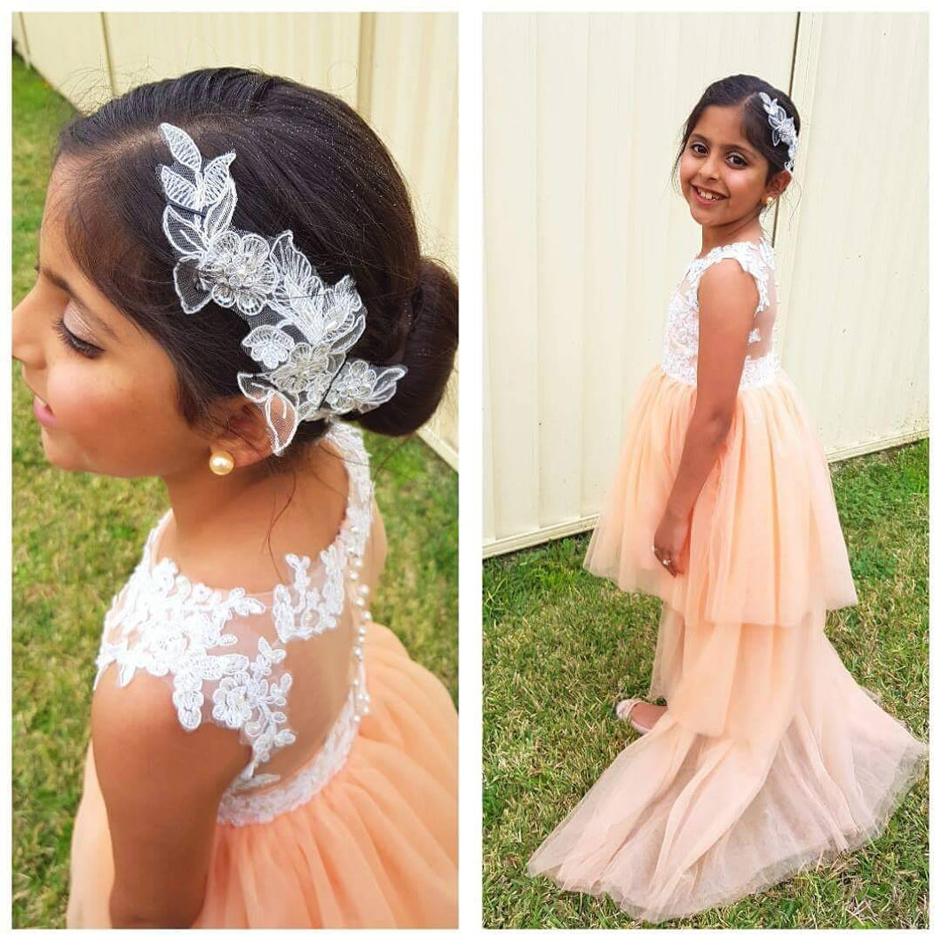 Champagne Tulle Cute High Low Flower Girl Dresses Pageant Gowns