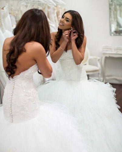Luxury Sweetheart Mermaid Bride Wedding Dresses with Ruffles