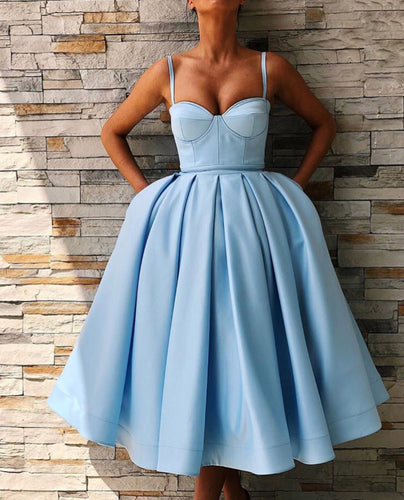 Sky Blue Little Ball Gowns Sexy Party Dresses with Pockets