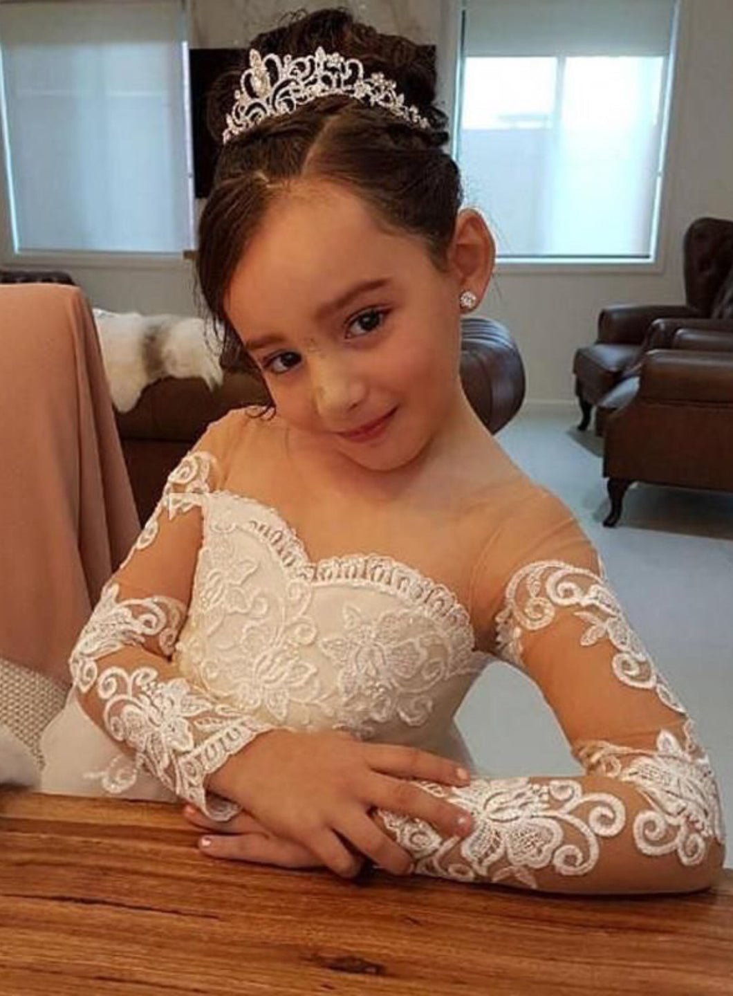 96836b2093e Cute Long Sleeves Ball Gown Flower Girl Dresses with Bow – CatSmile