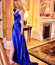 Soft Elastic Satin Sexy Long Evening Prom Dresses in Royal Blue
