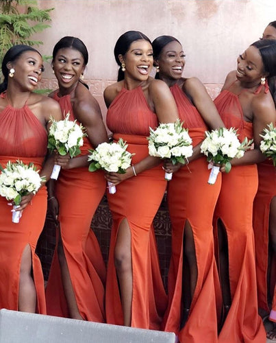 Sexy Slit Mermaild Bridesmaid Dresses Long African Style