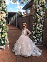 Princess Long Sleeves Flower Girl Dresses Kids Ball Gown for Weddings