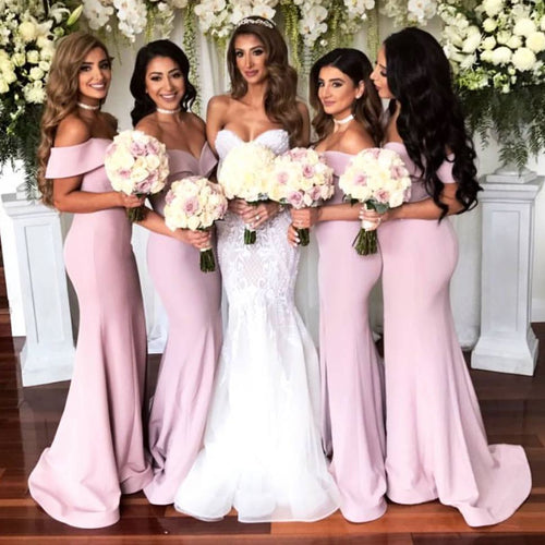 Off-Shoulder Satin Mermaid Long Bridesmaid Dresses with Front Slit