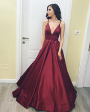 Deep V Neck Burgundy Satin Evening Dresses Long