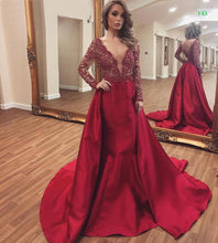 Deep V Neck Mermaid Prom Dress with Long Sleeves 2018