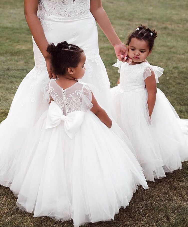 New Arrival Ball Gown Flower Girls Dresses with Bow robe fille