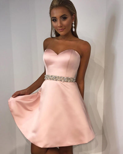 Concise Pink Satin Strapless Homecoming Dresses with Pearls Belt
