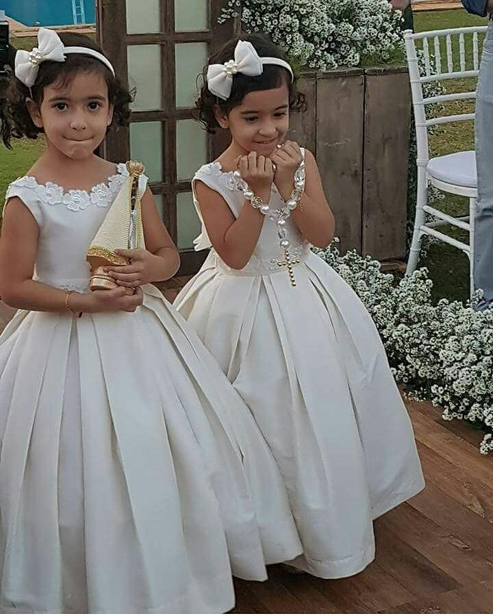 Cute Ball Gown Appliqued Satin Flower Girl Dresses Long