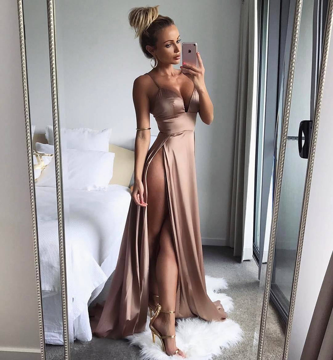 Sexy Slits Long Satin Evening Dresses Spaghetti Straps 2018