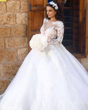 Vintage Lace Long Sleeves Ball Gown Wedding Dresses