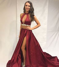 Sexy Halter Two Piece Long Prom Dresses in Burgundy Satin