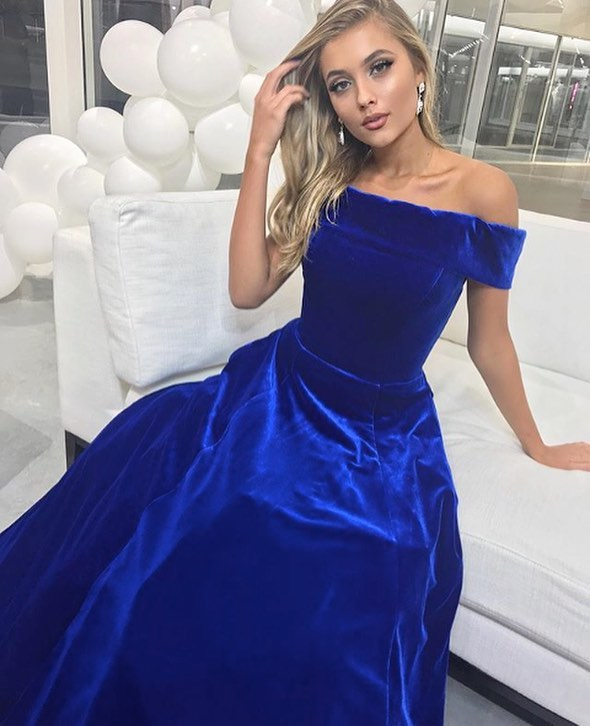 Dark Royal Blue Velvet Long Prom Dresses Off Shoulder 2018