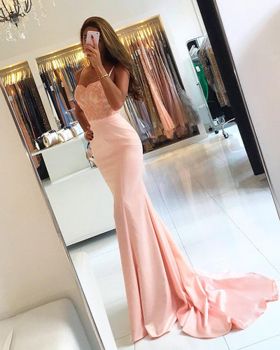 Lace Bodice Satin Mermaid Bridesmaid Dresses in Coral