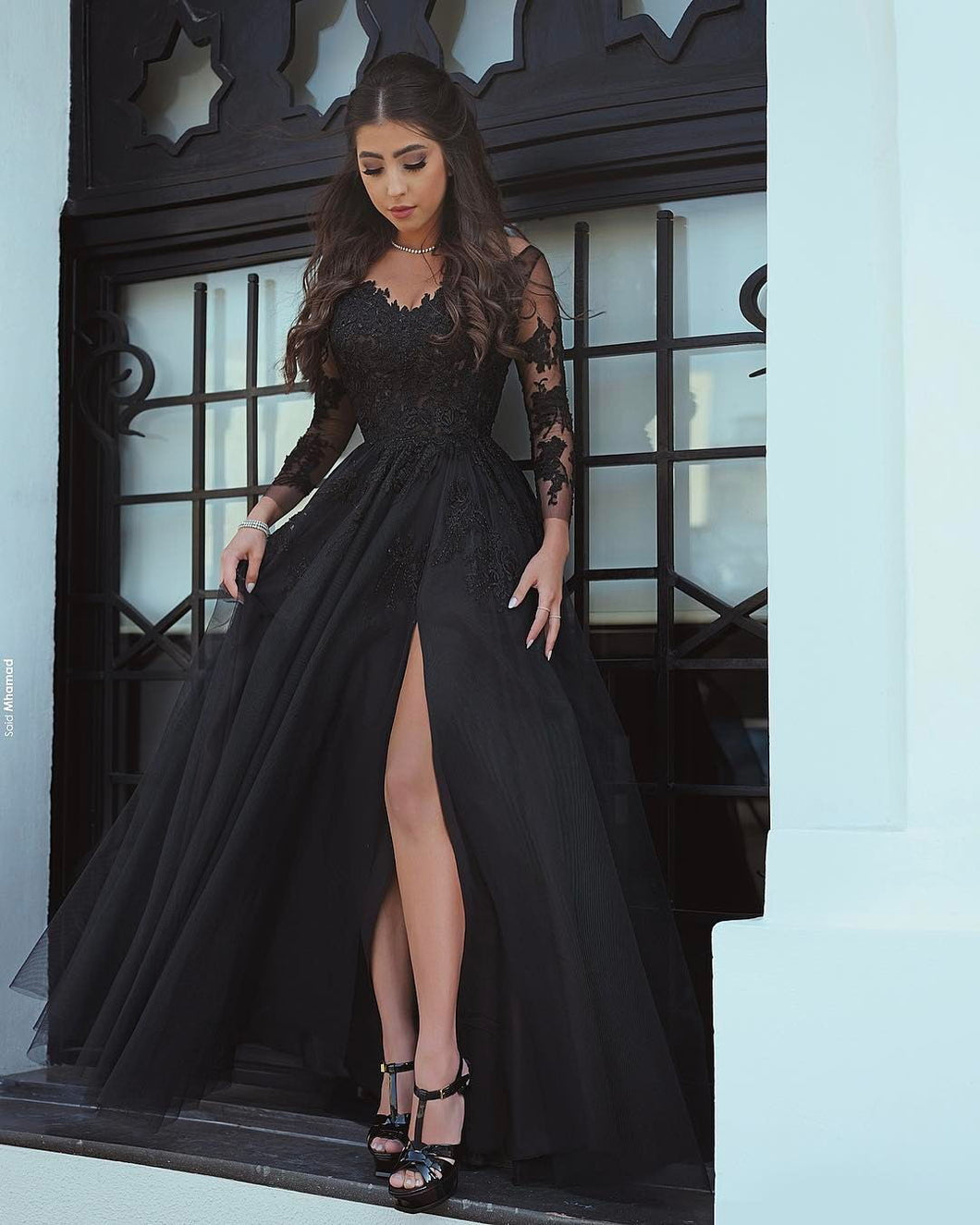 Sexy Backless Long Sleeves Prom Dresses with Side Slit