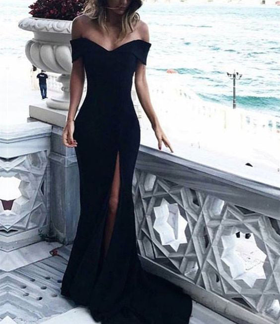 f8f61c241 Off Shoulder Mermaid Evening Dresses Long with Sexy Slit 2018 – CatSmile