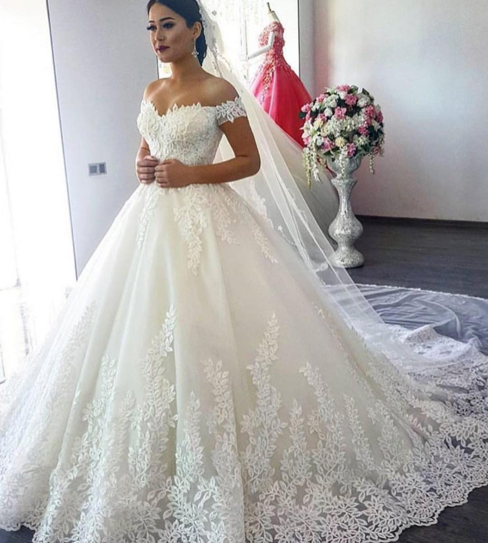 Off Shoulder Lace Corset Ball Gowns Tulle Wedding Dresses 2018 ...