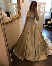 Champagne Satin Ball Gown Wedding Dresses with Lace Long Sleeves