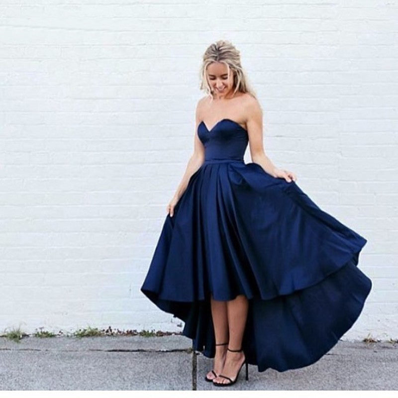 c9075c11ad4 Dark Blue Satin Sweetheart High Low Prom Dress 2018 Best Selling ...