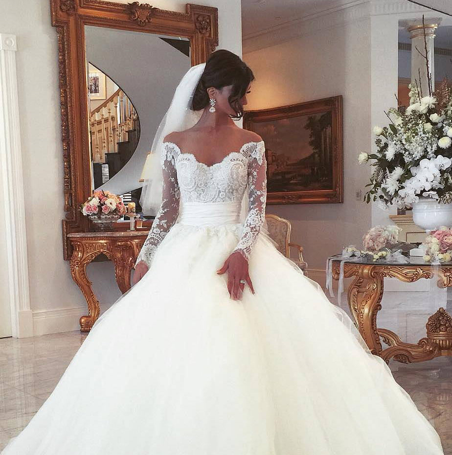 Off Shoulder Long Sleeves Ball Gown Wedding Dress