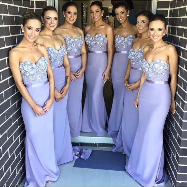 Long Sweetheart Mermaid Bridesmaid Dresses with 3D floral Appliques