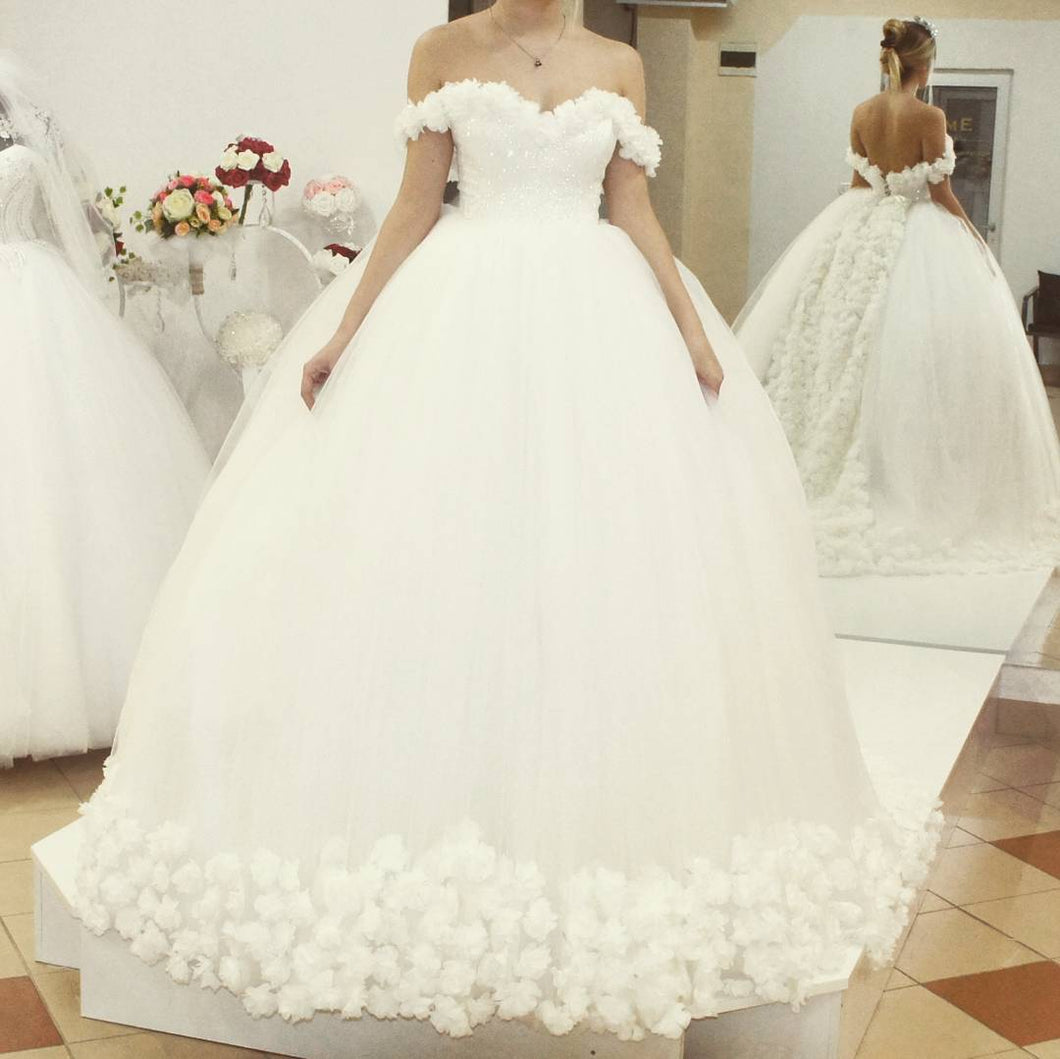 Off Shoulder Ball Gowns Flowers Wedding Dresses 2018 – CatSmile