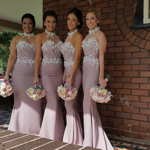 3D Flowers Appliques Mermaid Bridesmaid Dresses Long