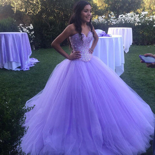 Lavender Tulle Sweetheart Quinceanera Dresses for Sweet 16