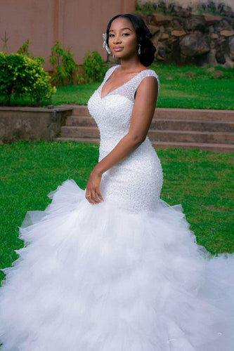 Beading V Neck Mermaid Wedding Dress with Ruffles Africa Style