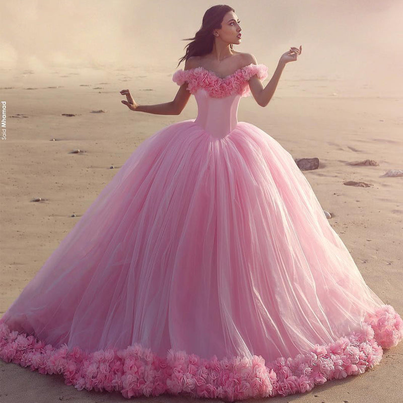 ba68ace98 Baby Pink Tulle Flowers Quinceanera Dresses Ball Gowns 2018 – CatSmile