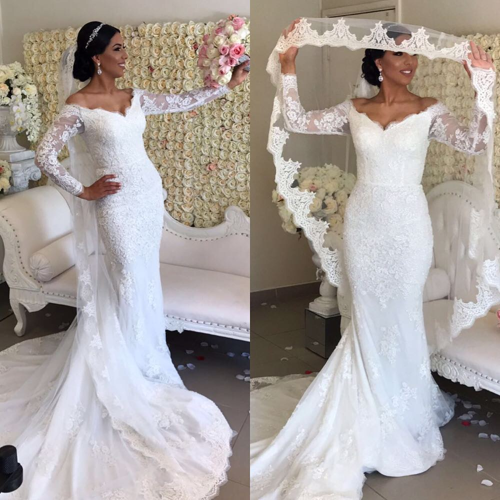 Off Shoulder Mermaid Lace Wedding Dress With Long Sleeves 2018 ...