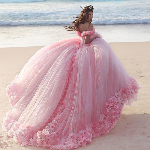 Baby Pink Tulle Flowers Quinceanera Dresses Ball Gowns