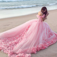 Baby Pink Tulle Flowers Quinceanera Dresses Ball Gowns 2018